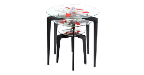 Giò Ponti glass nesting tables, 1960s, offered by Soho Treasures
