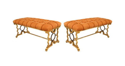 Benches in the manner of Gilbert Poillerat, late 20th century, offered by Newel