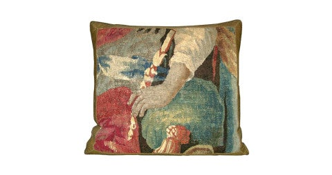 Flemish tapestry pillow, 17th century, offered by Y & B Bolour