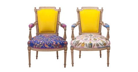 Louis XVI-style armchairs, ca. 1890, in vintage Hermès silk and Oscar de la Renta cashmere, offered by Sasha Bikoff