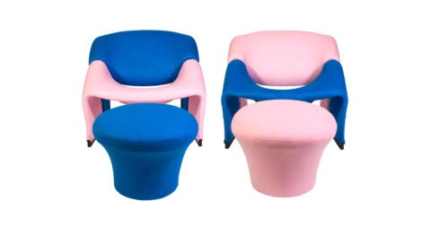 Pierre Paulin Groovy chairs and ottomans in Oscar de la Renta cashmere, ca. 1970, offered by Sasha Bikoff