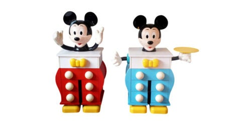 Pair of Pierre Colleu for Starform Mickey Mouse chests of drawers, ca. 1980, offered by Galerie André Hayat