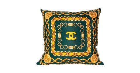 Chanel silk scarf pillow with velvet backing, 2015, offered by Sasha Bikoff