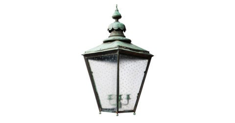 Verdigris copper outdoor lantern, ca. 1820, offered by Obsolete