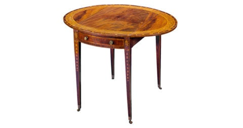 George III Mahogany Marquetry Oval Pembroke Table