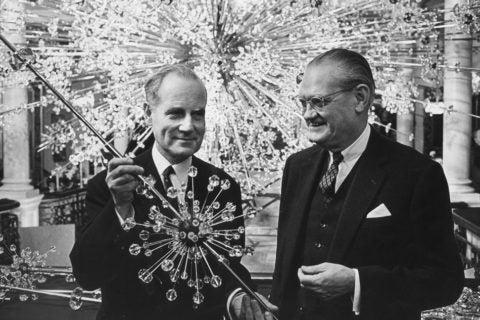 Lobmeyer's Hans Harald Rath (left) in his Vienna store, 1966.