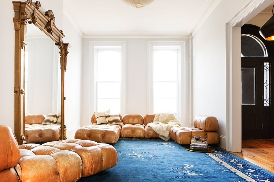 Julia Chaplin's Brooklyn home furnished by Elizabeth Roberts Architects and complete with a Mario Bellini Camaleonda sofa set