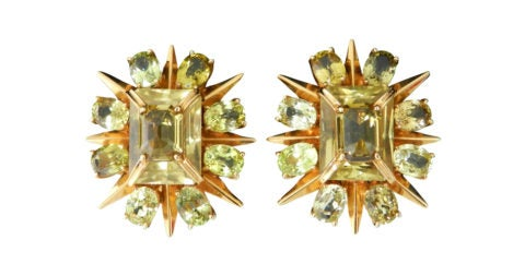 Tony Duquette citrine and gold clip-on earrings, 1980s, offered by I Miss You