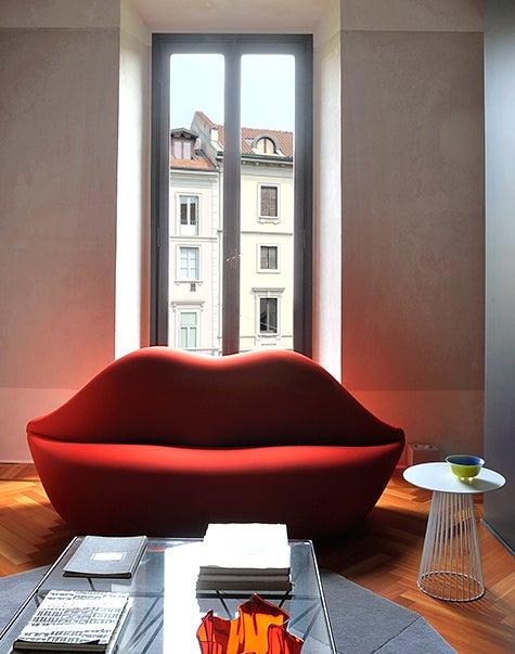 ... Designed By Giuliano Dellu0027 Uva, Studio 65u0027s Lip Shaped Bocca Loveseat U2014  Which Stendig Imported Through His Association With The Italian Furniture  ...