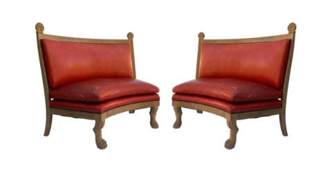 Jean Charles Moreux–style settees, 1930s, offered by Downtown