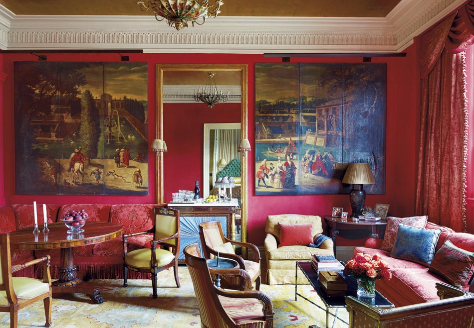 For a pied--terre overlooking Central Park on Manhattan's Upper East Side,  Handegan found inspiration in the homeowner's red and gold drawing room in  ...