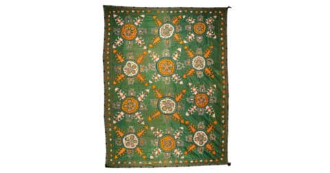 Late 19th- to early 20th-century silk Uzbek suzani, offered by Seref Ozen Tribal Rugs and Textiles