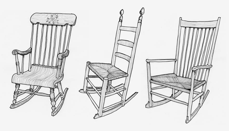 rocking chair drawing. The Author Illustrated Three Iterations Of Rocking Chair In His Recent Book, Now I Sit Me Down (Farrar, Straus And Giroux). From Left: Boston Rocker Drawing