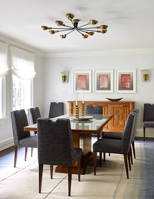 A Vintage Swedish Flat Weave Rug From Doris Leslie Blau Forms The Foundation For Dining Room In First Greenwich Home Custom Chairs