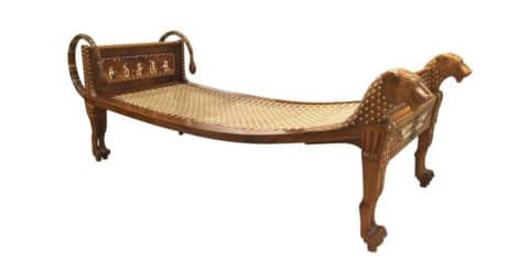 English Egyptian Revival–style walnut daybed, 1920, offered by Newel