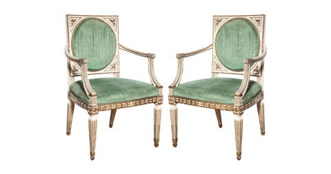 Italian armchairs, late 18th century, offered by Niall Smith Antiques