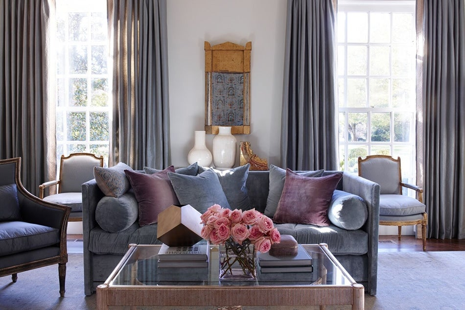 In This Nashville Living Room, John Saladinou0027s Studded Shelter Sofa Is  Upholstered In Ralph Lauren Fabric And Topped With A Mix Of Custom And  Fortuny ...