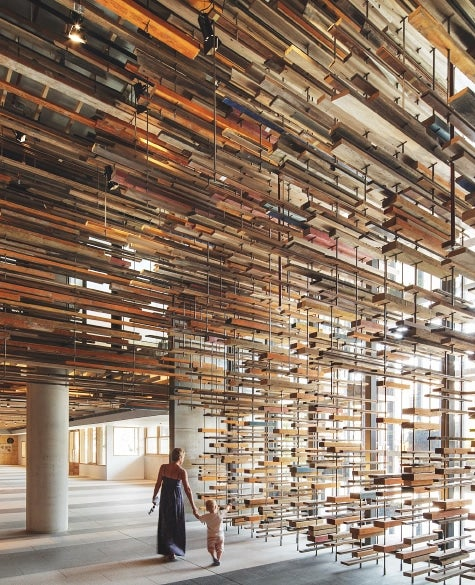 william halls new book highlights innovative wood structures around the world like this hotel lobby in australia march studio hung pieces of lumber - Innovative Wood Beam Ceiling