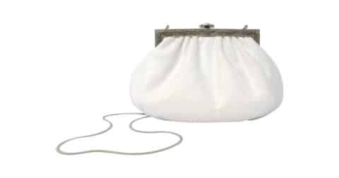 Art Deco white karung handbag with silver chain, 1980s, offered by Vintage by Misty