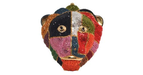 Swarovski crystal multicolored lion's head minaudiere, late 20th century, offered by Ladybug Vintage
