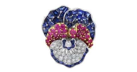 Sapphire, diamond, gold  and platinum pansy pin, 21st century, offered by Shreve, Crump & Low