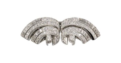 Tifanny & Co Art Deco diamond and platinum double-clip brooch, 1930s, offered by Botier