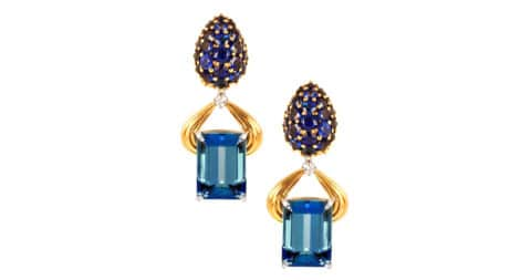 Aquamarine sapphire, diamond, gold and platinum earrings, offered by F.E.I.
