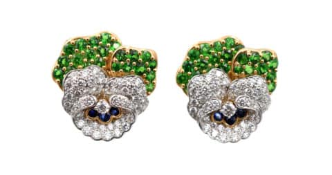 Tiffany & Co. tsavorite, diamond, gold and platinum daisy earclips, 1990s, offered by NALLY
