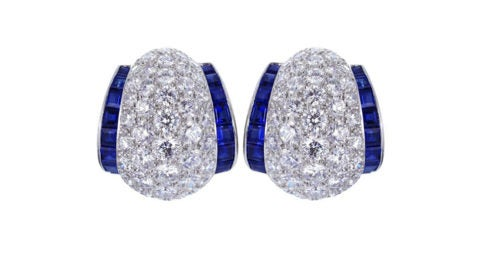 Sapphire, diamond and platinum earrings, 21st century, offered by Shreve, Crump & Low