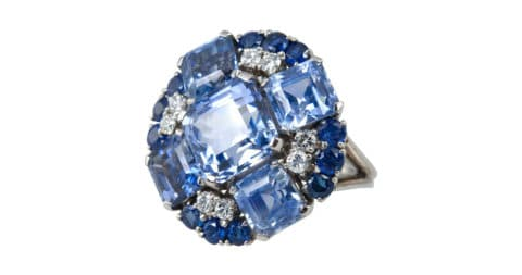 Sapphire and diamond ring, 1950, offered by Craig Evan Small