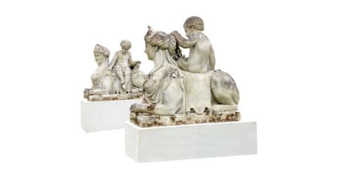 Pair of French limestone sphinxes, 19th century