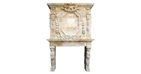 Louis XIV limestone fireplace, 17th century