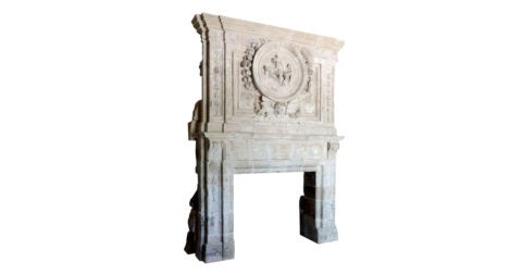 French Louis XIV limestone fireplace, 17th century