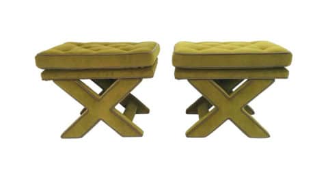 Billy Baldwin X-base benches, 1970s, offered by A La MOD