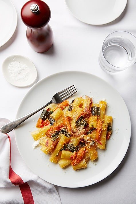 Candele pasta with Carrots, Fresno Chilies, Greek Yogurt and Pancettaz