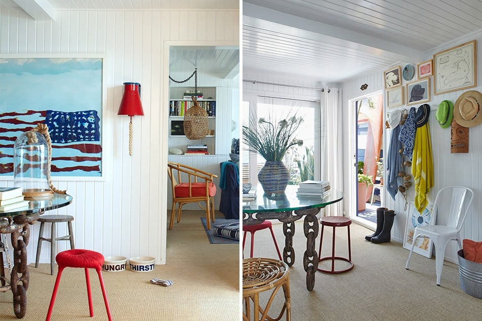Left In Hughes And Turner S Malibu Home Oversized Marine Metal Links Form The Base Of Custom Dining Table A Large Photograph By Oberto Gili Hangs