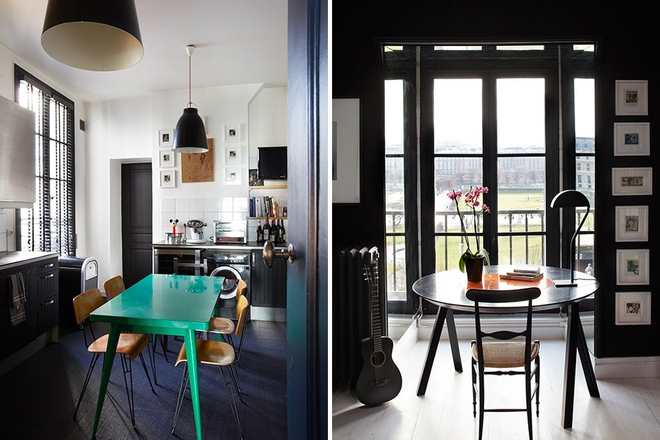 Vintage chairs surround a vibrant green tolix table in the rue de rivolis otherwise black and white kitchen left while gervasoni pendants hang above