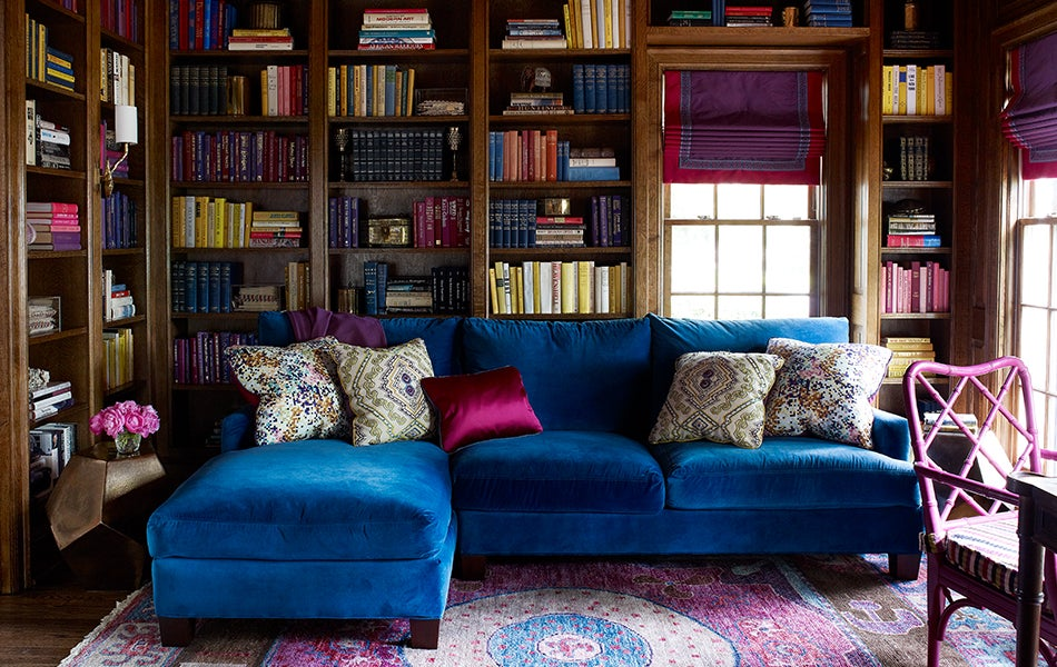The Library Of This Home In Charlotte North Carolinas Eastover Neighborhood Features A Custom Velvet Sectional Sofa And An Antique Chippendale Chair