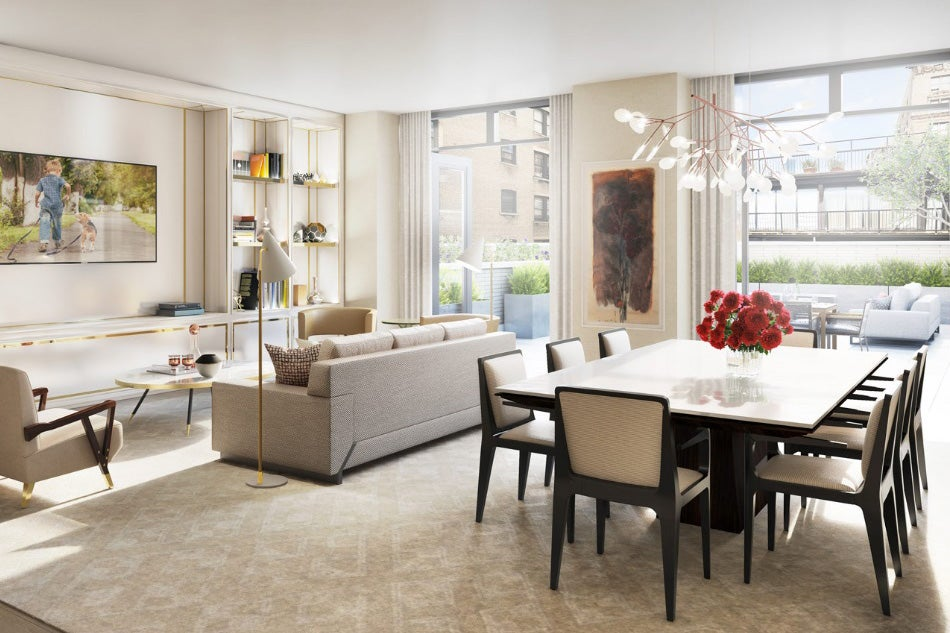 In the great room of a model home in the chamberlain a building on manhattans upper west side champalimaud sought to create spaces that would accommodate