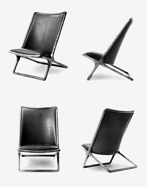 leather and metal folding chairs