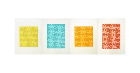 <i>Yellow, Blue, Orange and Red Meander,</i> 1970–71, offered by Brooke Alexander, Inc.