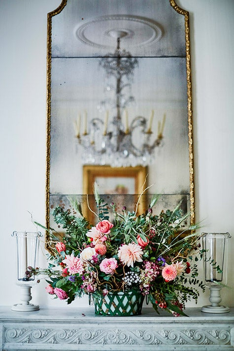 flowers on mantel