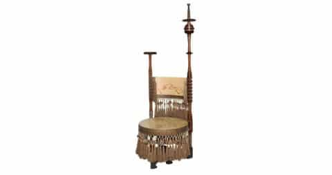 Carlo Bugatti throne chair, ca. 1898. Offered by James Infante