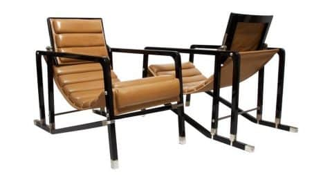 Eileen Gray for Ecart International Transat chairs, ca. 1980, offered by Hecate