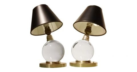 Jacques Adnet Baccarat lamps, 1940s, offered by Mantiques Modern