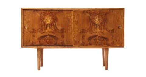 Hans Wegner oak burl cabinet, 1960s, offered by Wyeth
