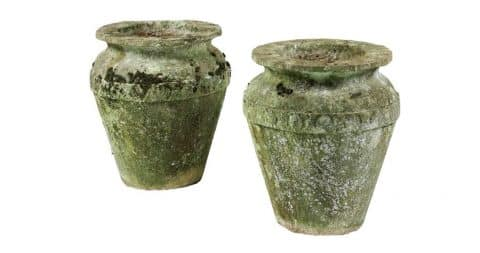Pair of Cotswold stone vases, 1800, offered by Rose Uniacke