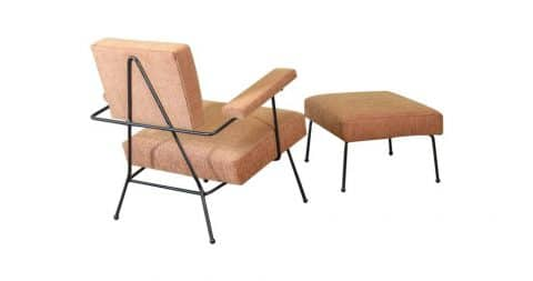 Adrian Pearsall 104-C iron lounge chair and ottoman, ca. 1950s, offered by Arroyo Artifacts