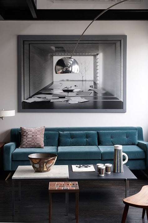 Marianne Evennou and her husband designed the sofa in the Neuilly loft together