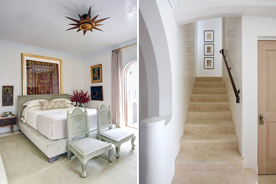 Bedroom and staircase of house in Alys Beach Florida by Texas architect Michael Imber